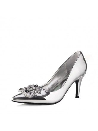 Simple Sparkle Gold Wedding High Heels With Crystal Buckle