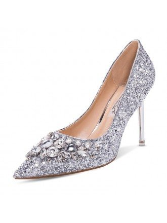 Sparkly Silver Cinderella Wedding High Heels With Crytals