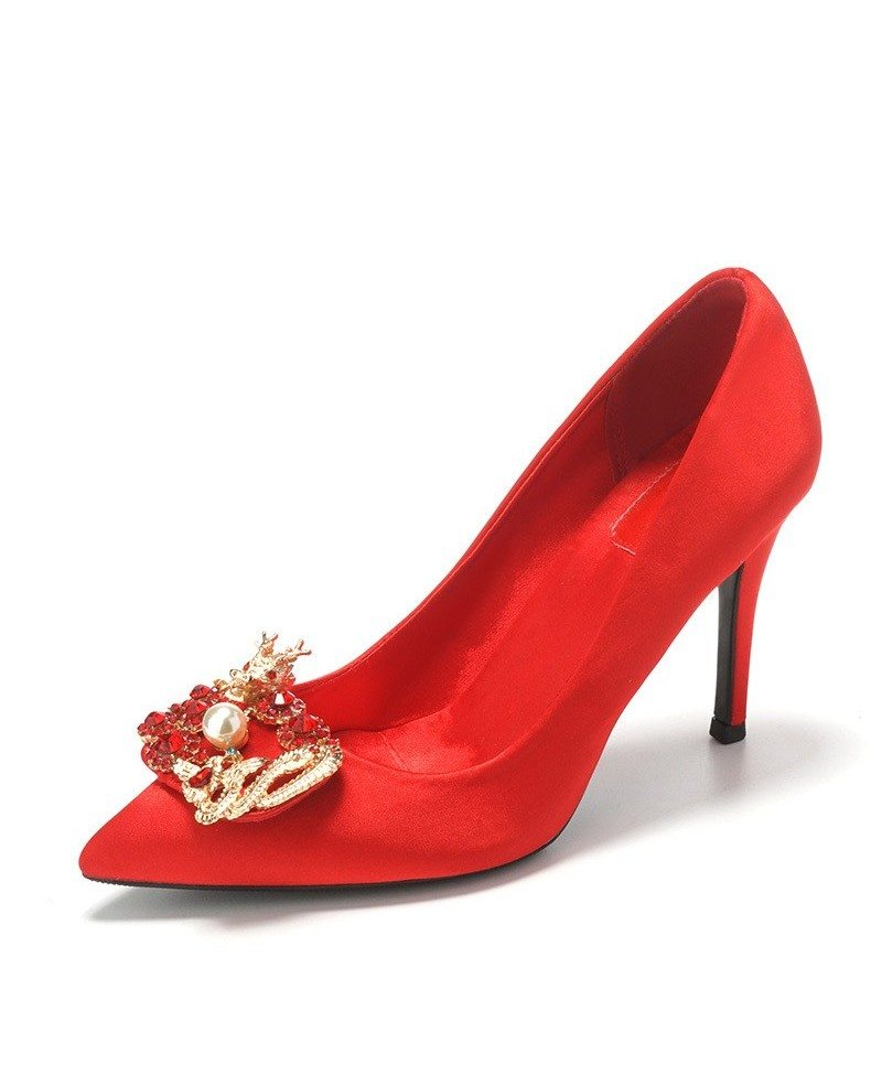 Vintage Red Satin Wedding Shoes With Pearl 2018 #ALA-6815