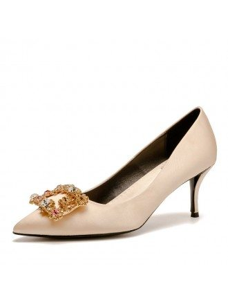 Comfortable Satin Champagne Wedding Shoes With Sparkly Crytals