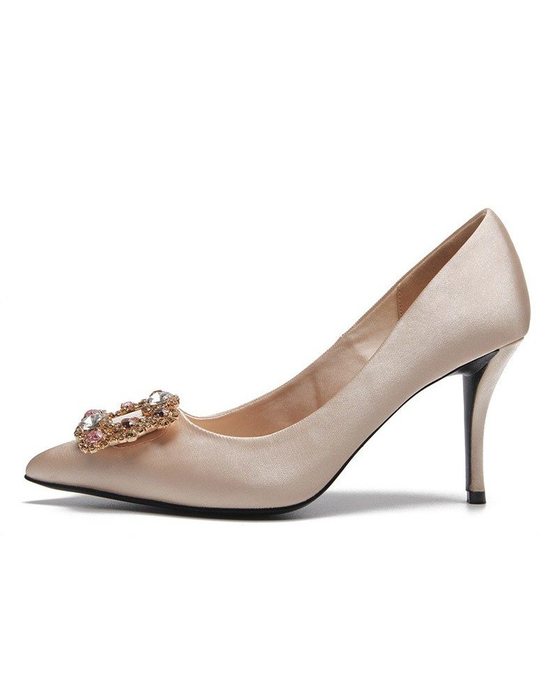 Comfortable satin champagne wedding shoes with sparkly for Comfortable wedding dress shoes