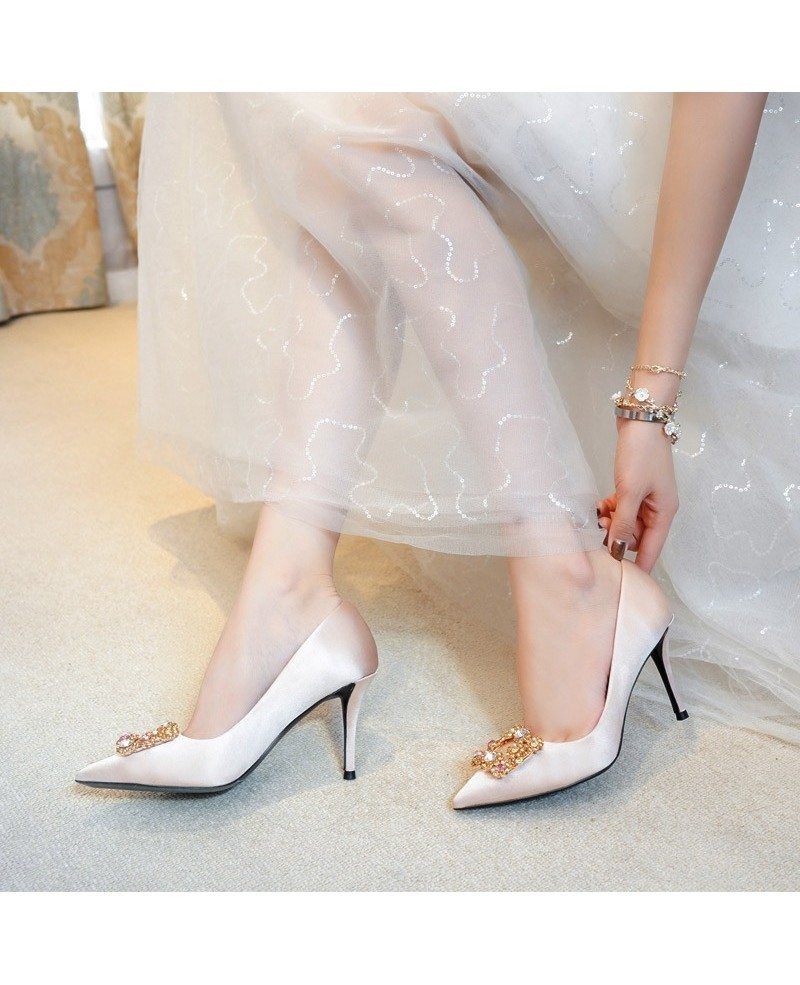 Comfortable Shoes At Wedding: Comfortable Satin Champagne Wedding Shoes With Sparkly