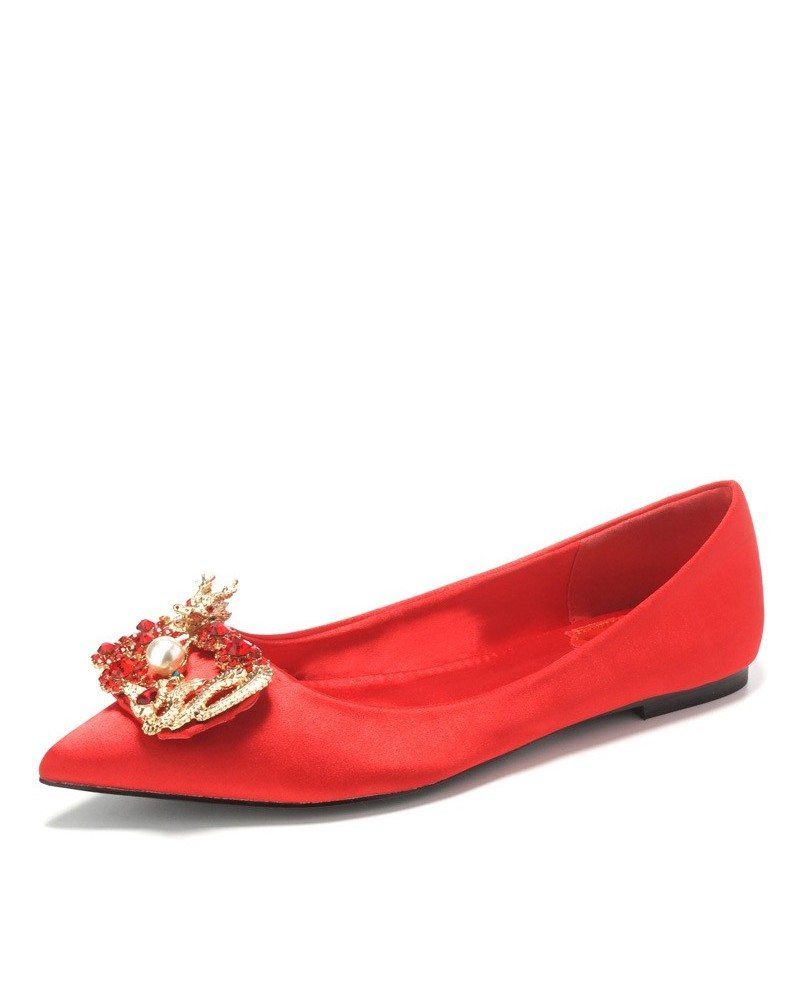 Simple red color wedding flat shoes for brides ala 6821 simple red color wedding flat shoes for brides junglespirit Choice Image