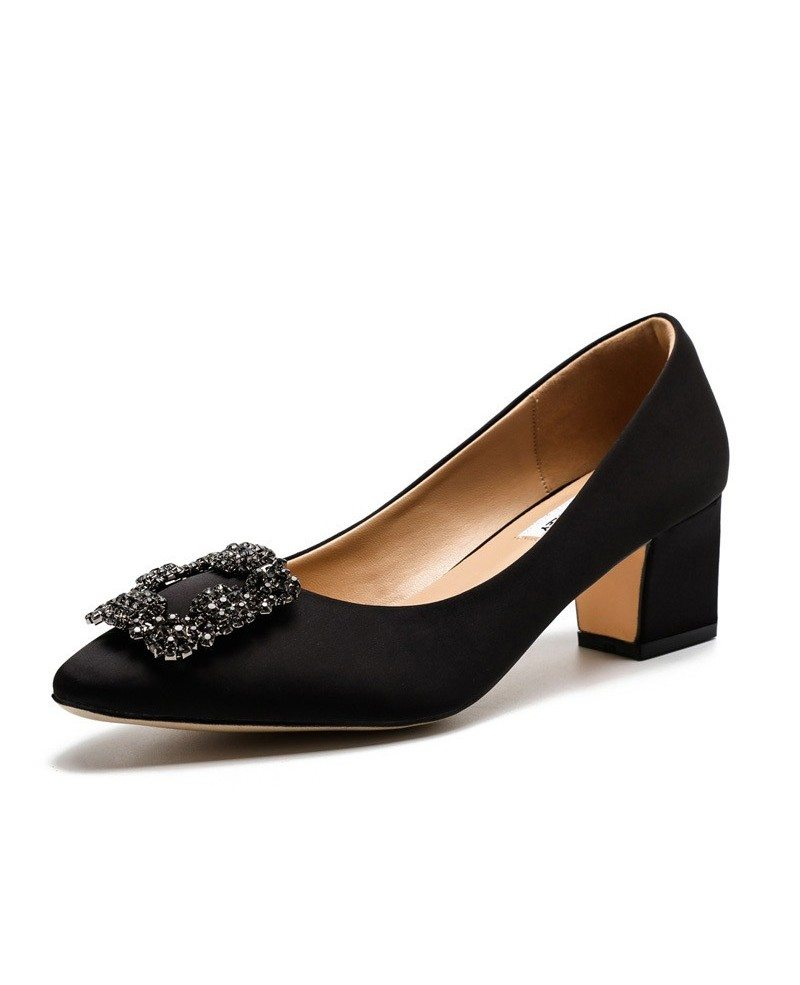 A great pair of black shoes is a staple in any girl's closet. This selection of dress shoes in black includes all of the latest styles including satin pumps, sexy high heels, and jeweled sandals.