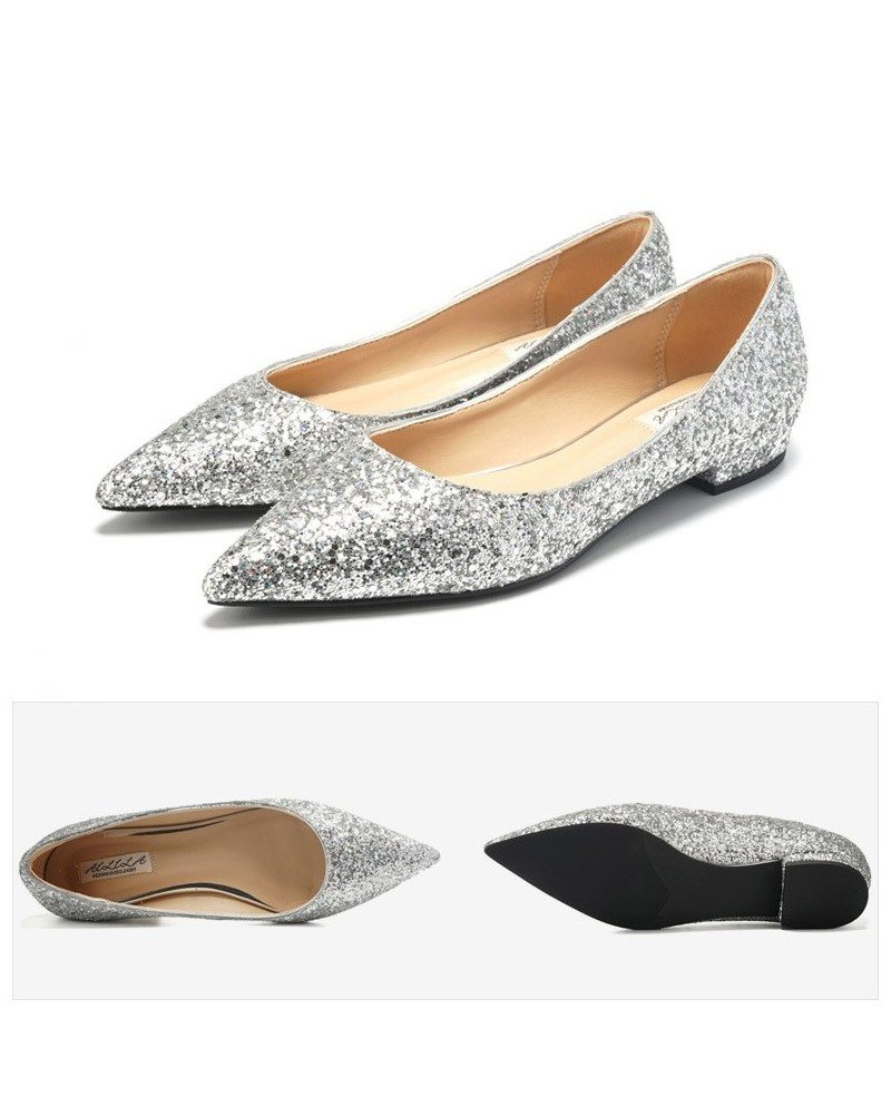 glitter gold prom flat shoes pointed toe for 2018