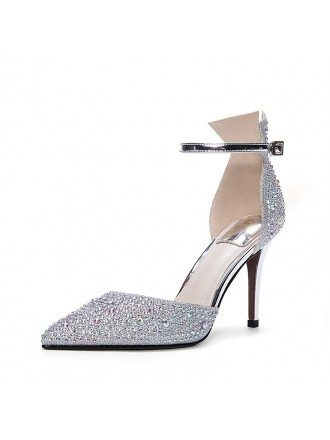 Sparkly Silver Strappy Prom Shoes For 2018 Girls