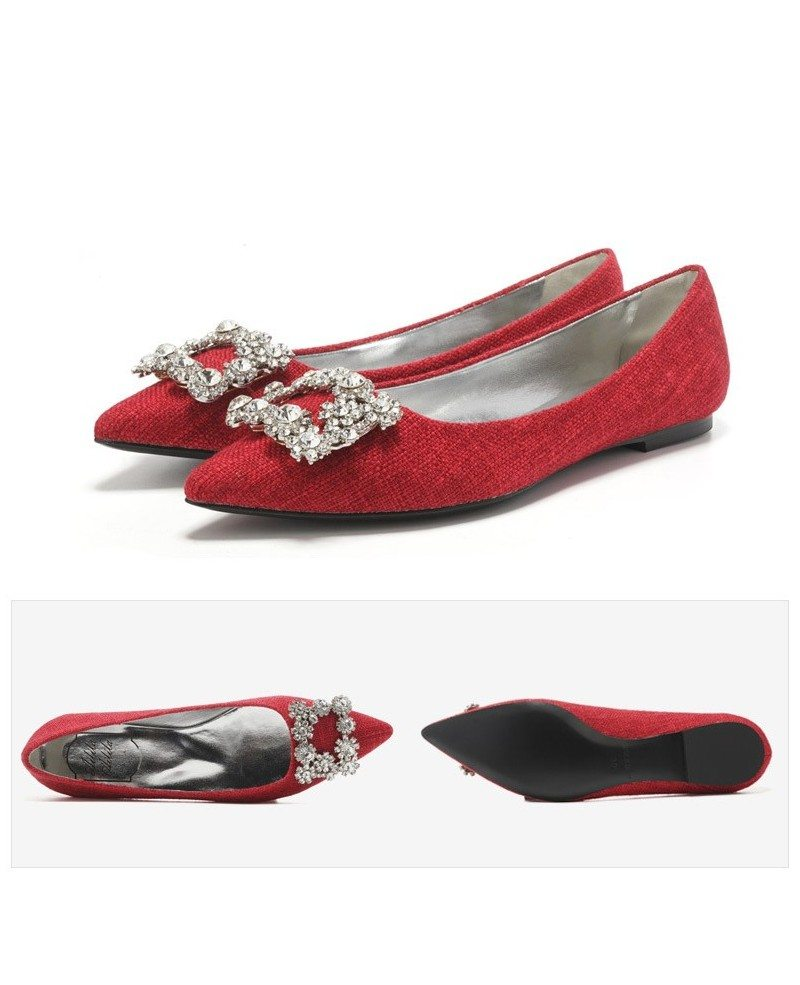 Comfortable Yellow Wedding Shoes Flats With Rhinestones Buckle  ALA-6834 -  GemGrace.com e0474d4dfc0e