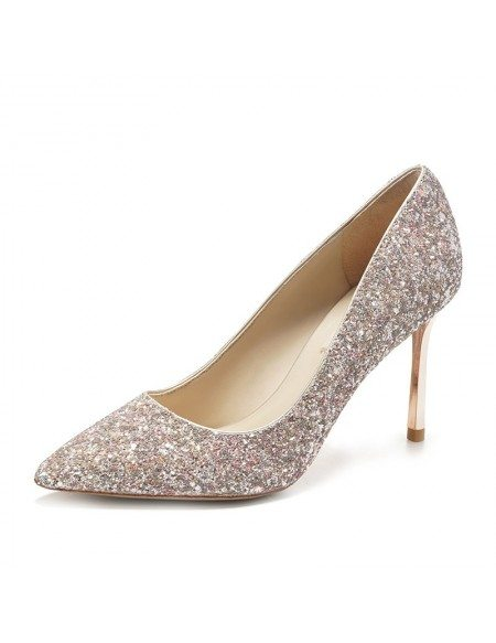 Simple Sparkly Silver Wedding Shoes High Heels For Brides 2018 ...