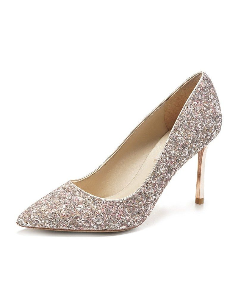 Simple sparkly silver wedding shoes high heels for brides 2018 ala simple sparkly silver wedding shoes high heels for brides 2018 junglespirit Images
