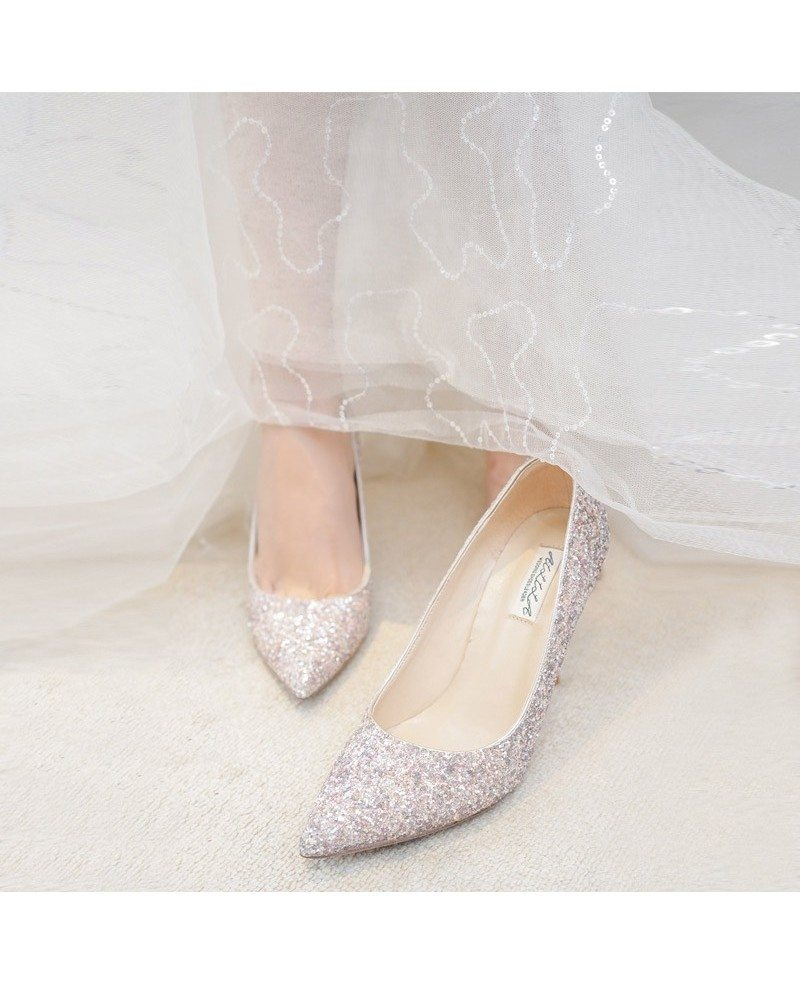 Simple Sparkly Silver Wedding Shoes High Heels For Brides