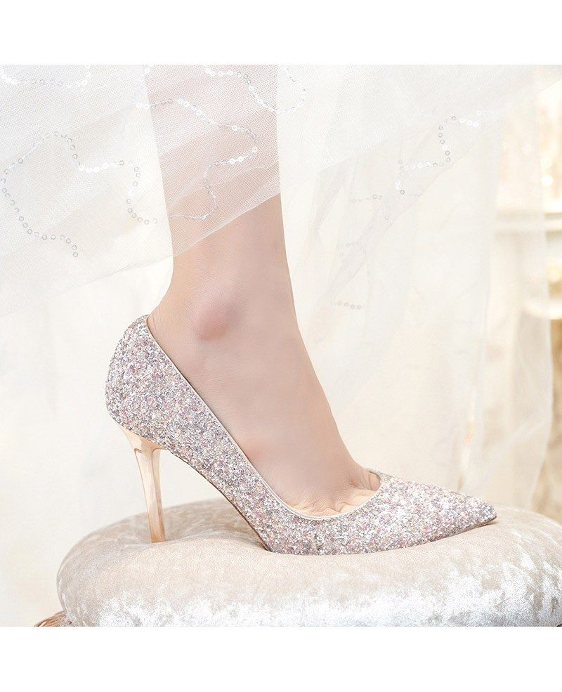 ... Simple Sparkly Silver Wedding Shoes High Heels For Brides 2018 ...