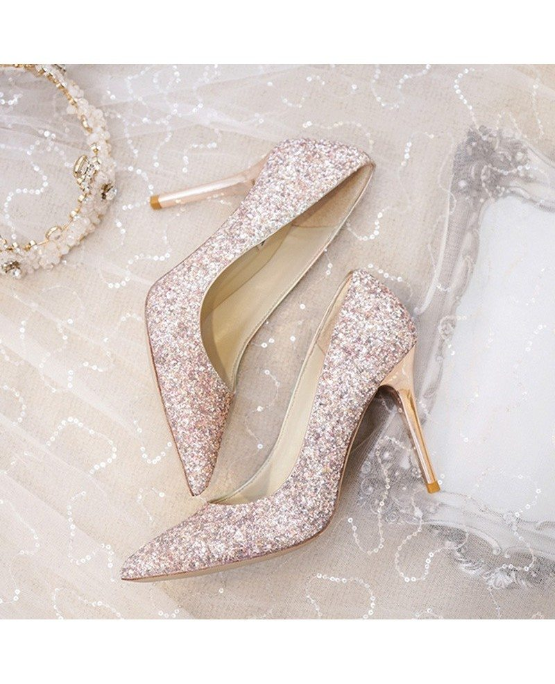 Wedding Shoes Australia: Simple Sparkly Silver Wedding Shoes High Heels For Brides