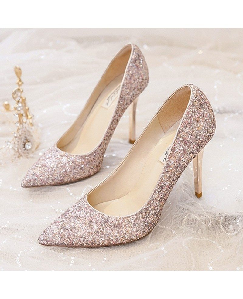 Bridal Shoes Silver: Simple Sparkly Silver Wedding Shoes High Heels For Brides