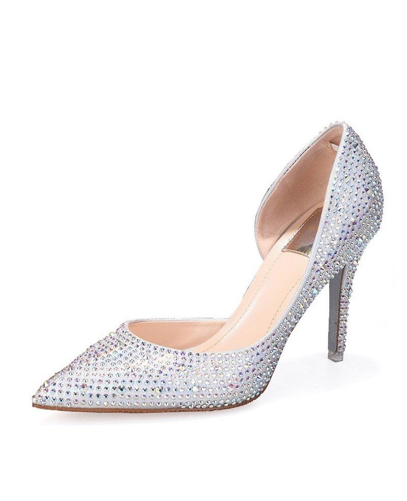 Cinderella silver sparkly wedding shoes with ribbon ala 6839 cinderella silver sparkly wedding shoes with ribbon junglespirit Images