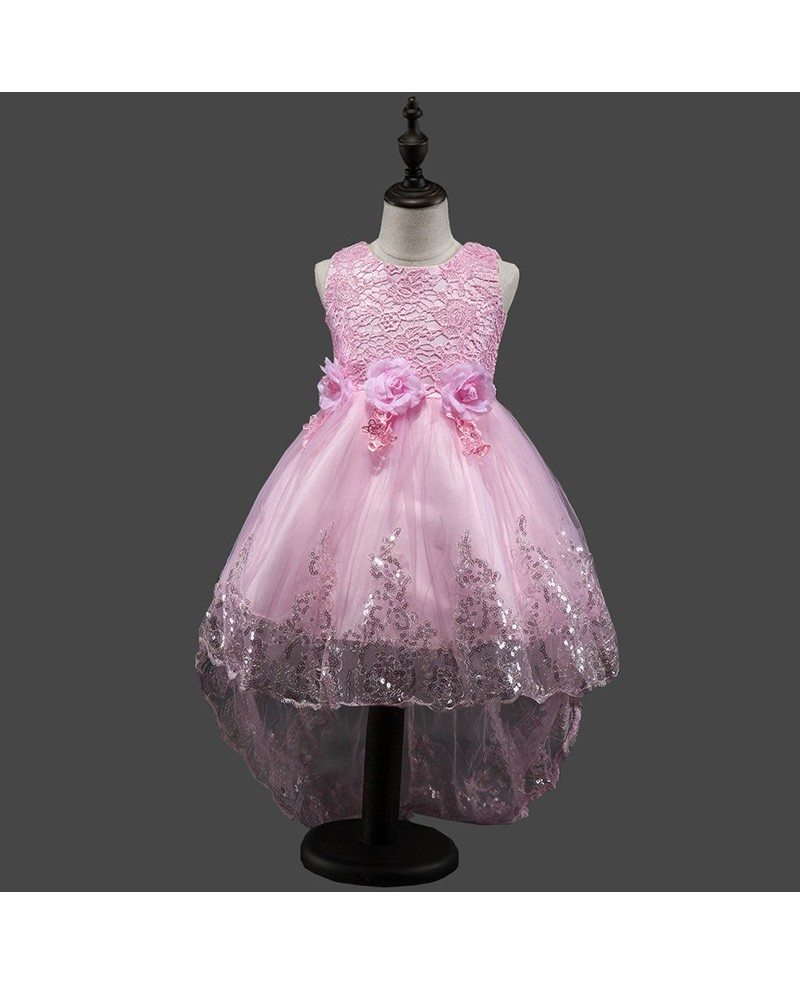379 High Low Purple Cheap Flower Girl Dress With Sequin Trim Qx