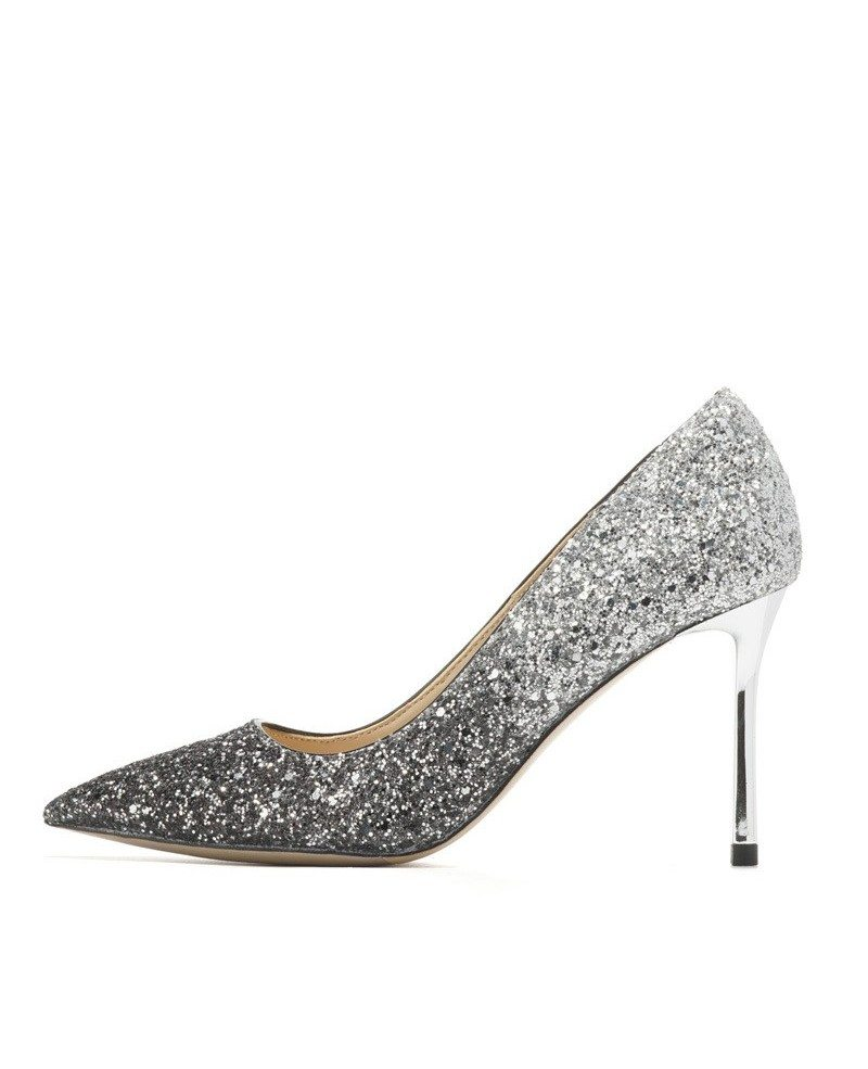 Different Shining Black Wedding Shoes High Heels For