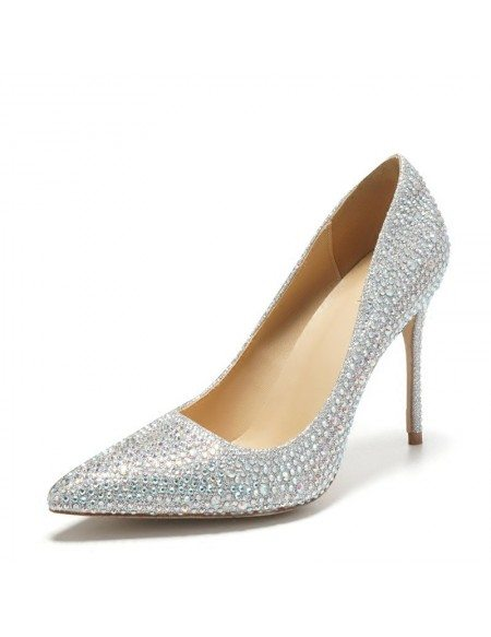 Pointed Toe Silver Bling Prom Shoes High Heels For Girls 2018 #ALA ...