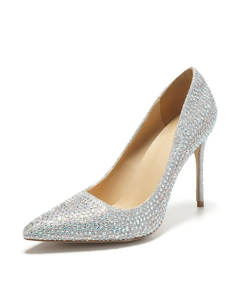 Pointed Toe Silver Bling Prom Shoes High Heels For Girls 2018 #ALA-6851 - GemGrace.com
