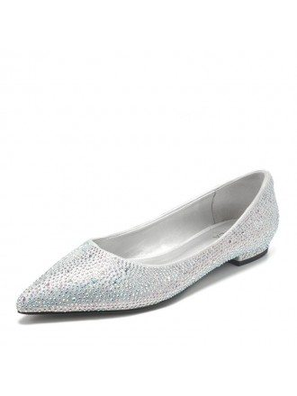 Comfy Sparkly Silver Flat Bridal Shoes With Pointed Toe