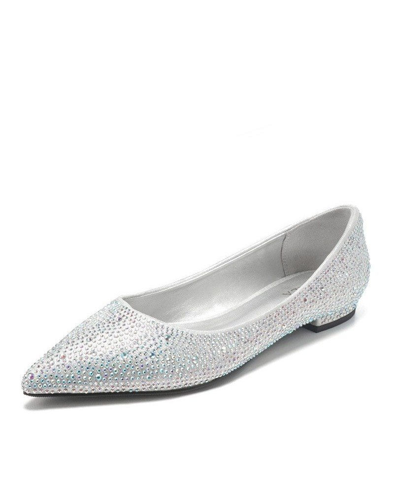 Bridal Shoes Silver: Comfy Sparkly Silver Flat Bridal Shoes With Pointed Toe