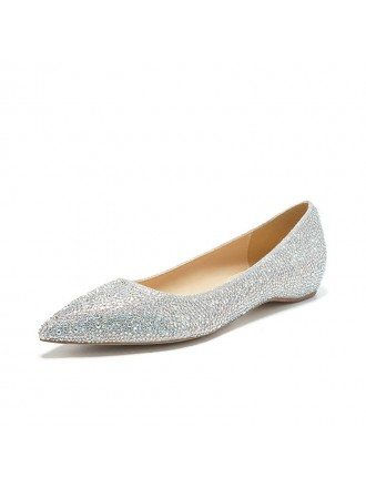 Simple Comfortable Shining Bridal Shoes With Sheepskin Insole