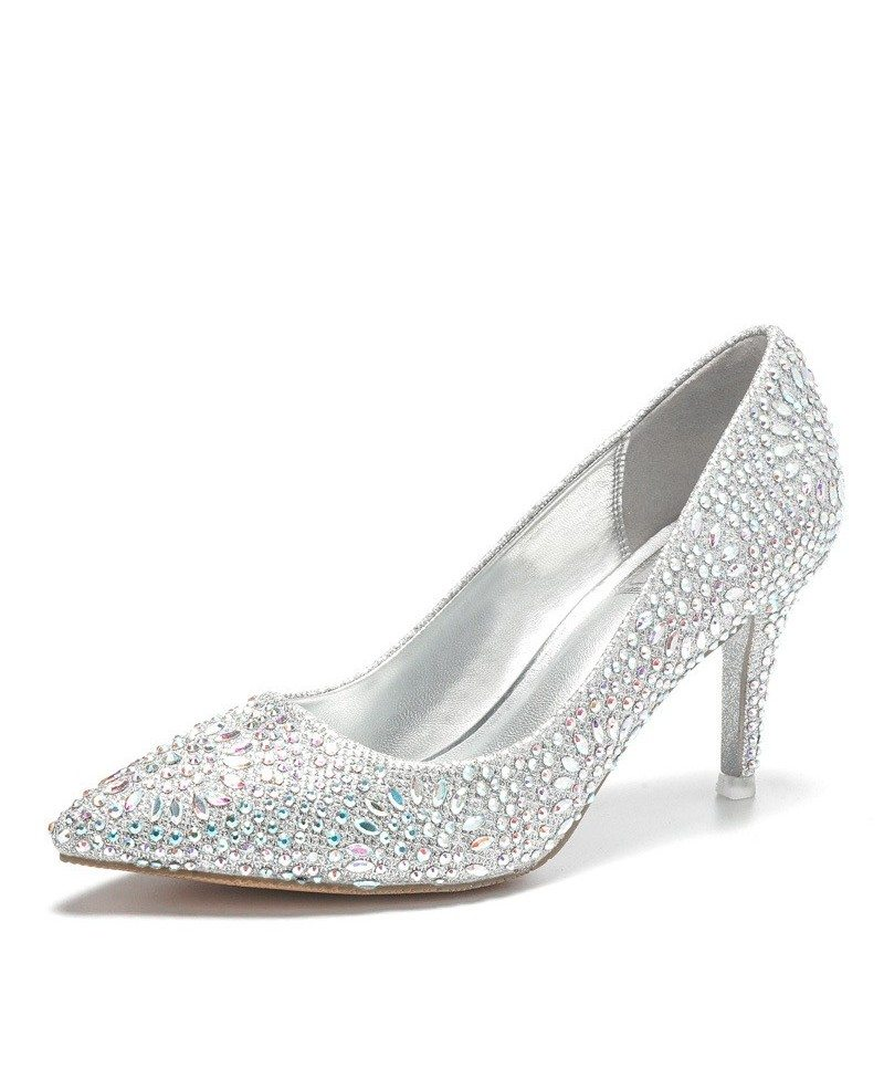 Plus Size Flower Glitters Prom Pointed Toe Pumps - WHITE Cheap Sale Prices Under Sale Online Buy Cheap Limited Edition Cheap Sale Clearance Store Cheap Price Buy Discount cvSxooSG