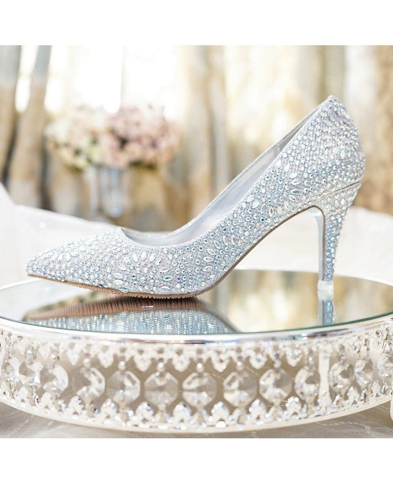 Simple Glitter Silver Prom Shoes With Pointed Toe 2018 #ALA-6860 ...