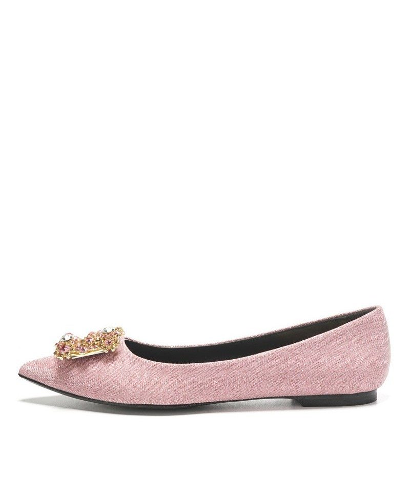 Comfortable Blush Pink Wedding Shoes Flats With Crystal Buckle