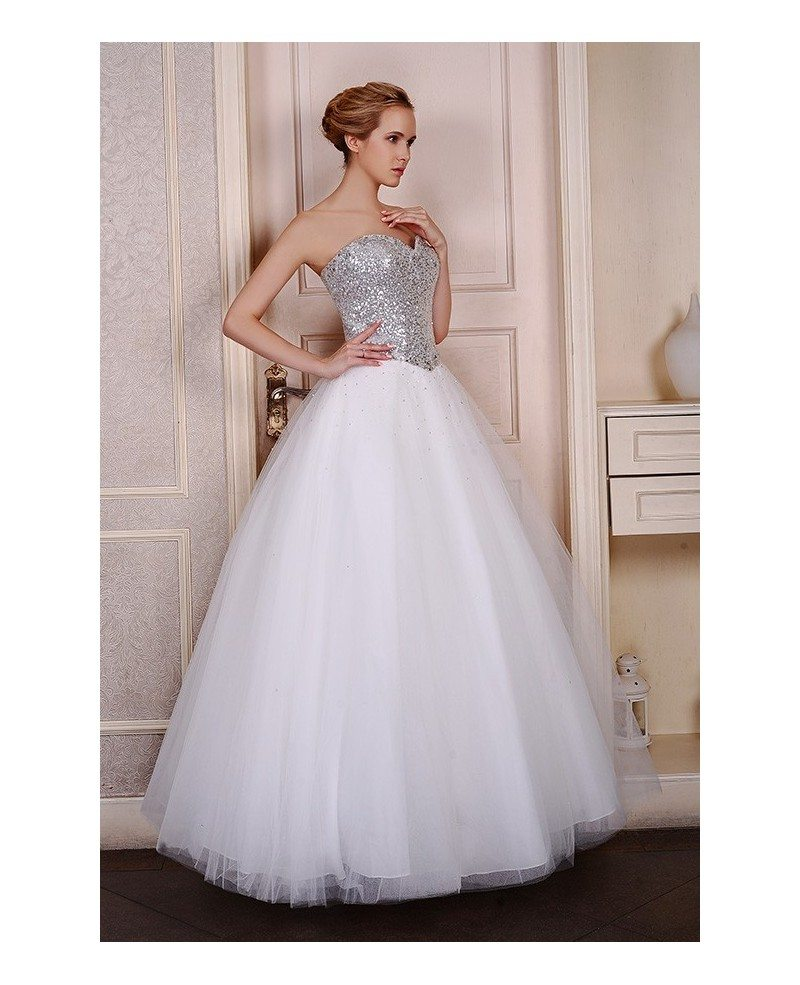 Ball-Gown Sweetheart Sweep Train Organza Wedding Dress With Sequins ...
