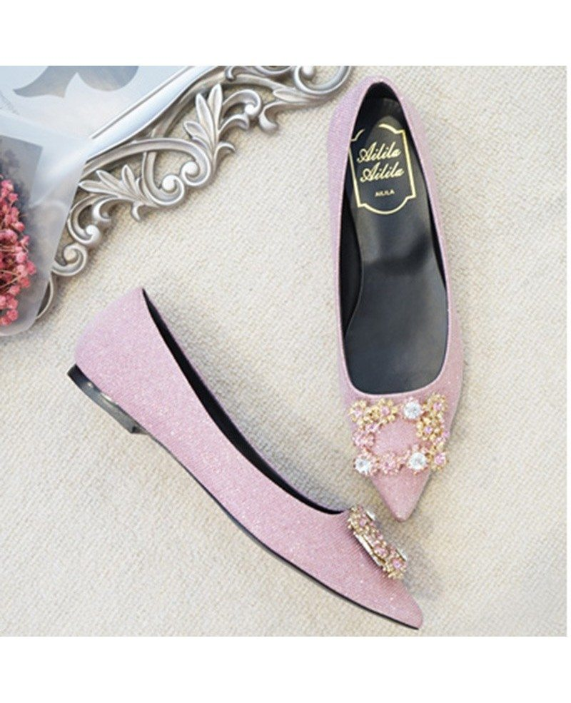 Comfortable Blush Pink Wedding Shoes Flats With Crystal Buckle #ALA ...