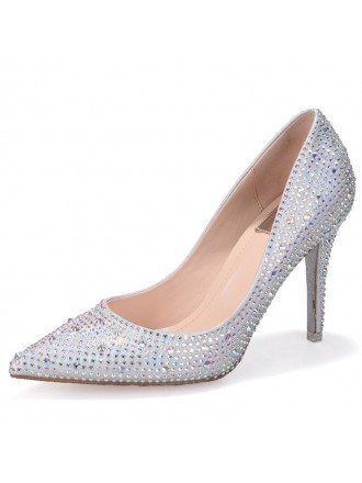 Sparkly Silver Cinderella Bridal Shoes With Ribbon