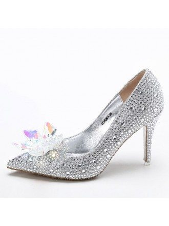 Elegant Bling Floral Wedding Shoes Silver For Brides
