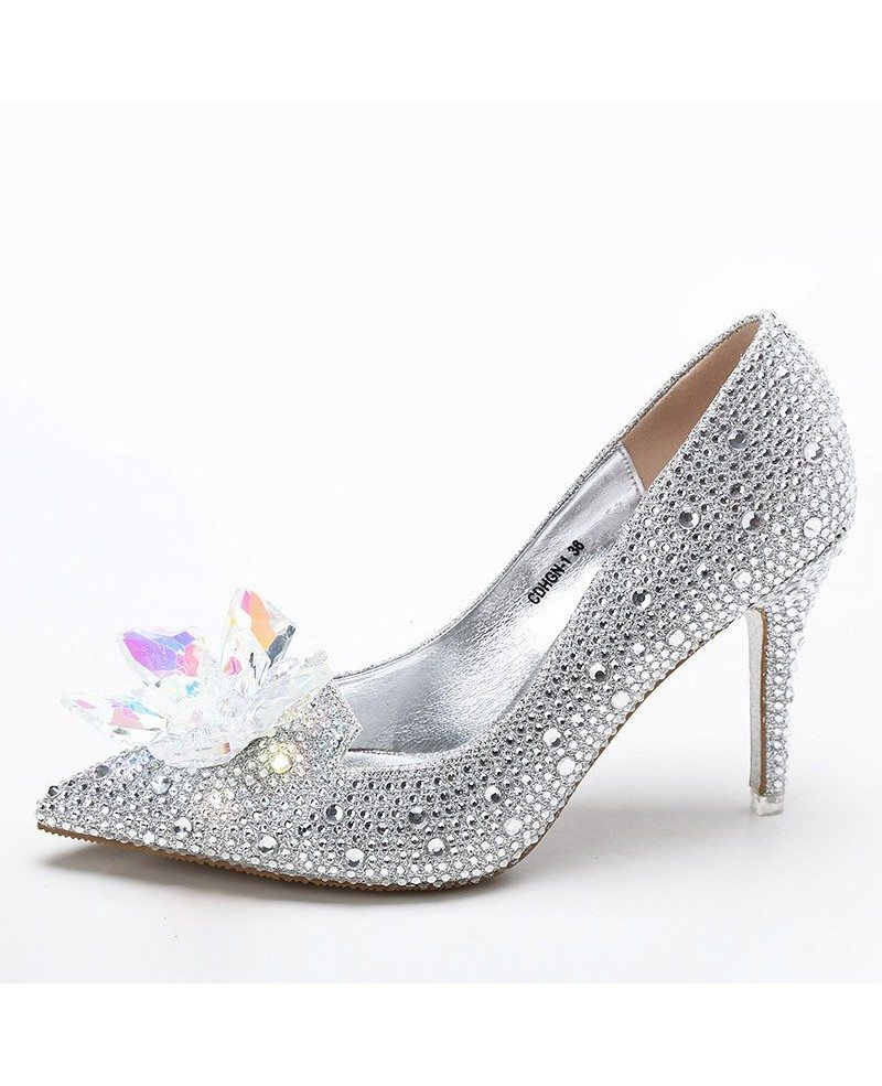 Bridal Shoes Silver: Elegant Bling Floral Wedding Shoes Silver For Brides #ALA