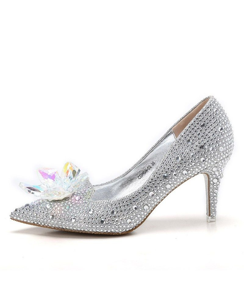 Elegant Bling Floral Wedding Shoes Silver For Brides #ALA-6870 ...