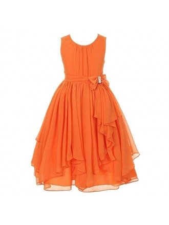 Orange Chiffon Pageant Dress With Bow for Teen Girls