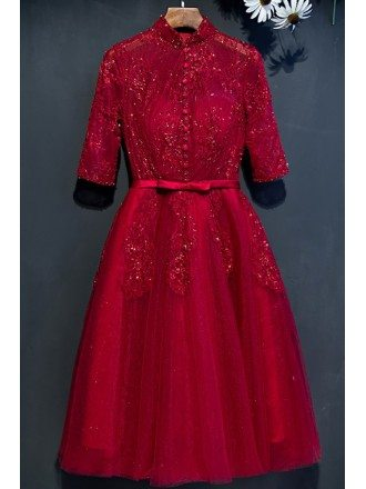 Retro Burgundy High Neck Lace Short Party Dress With Sleeves