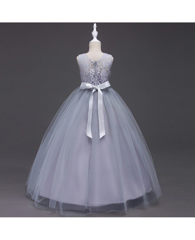 379 Princess A Line Navy Blue Cheap Flower Girl Dress With Lace