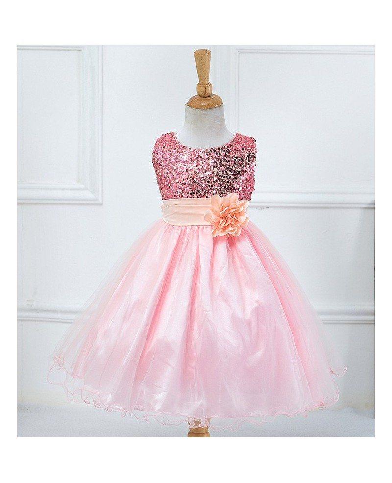 319 Bling Bling Princess Champagne Cheap Flower Girl Dress With