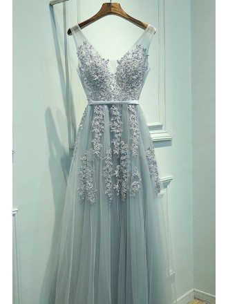 Popular V-neck Lace And Tulle Long Prom Dress For Cheap