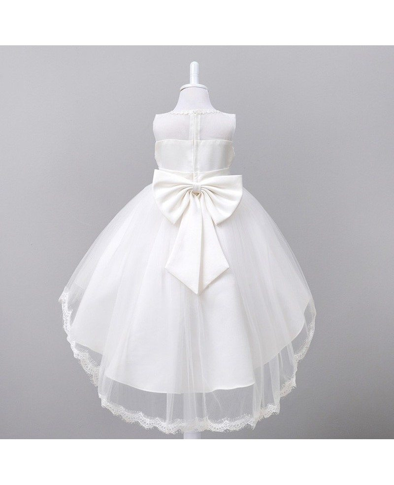359 High Low Red Floral Cheap Flower Girl Dress With Lace Trim Qx