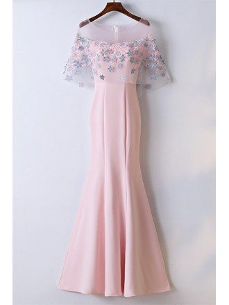 Sheath Long Pink Mermaid Party Dress With Flowers
