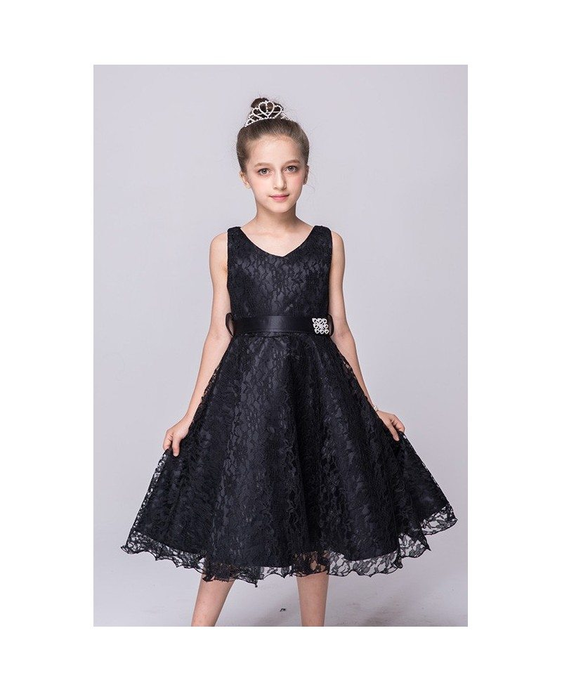 349 Princess Cream All Lace Cheap Flower Girl Dress With Sash Qx