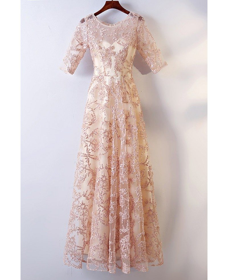 Long champagne lace formal party dress with sleeves for for Formal long dresses for weddings