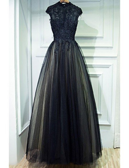 Long black dress with cap sleeves