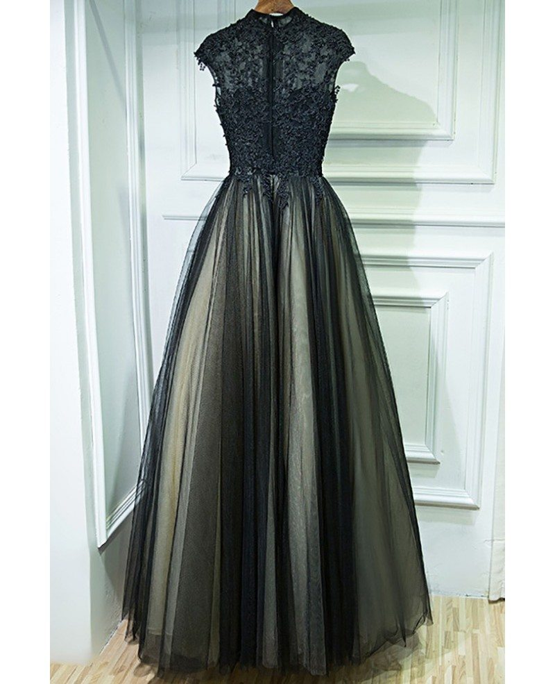 Vintage Chic Long Black Lace Formal Prom Dress With Cap ... Lace Prom Dresses Vintage