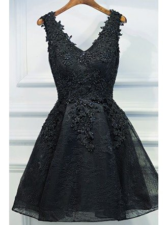 Chic Short Little Black Lace Prom Homecoming Dress V-neck Sleeveless
