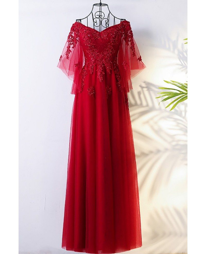 Flowy burgundy long tulle formal party dress with for Flowy wedding dress with sleeves