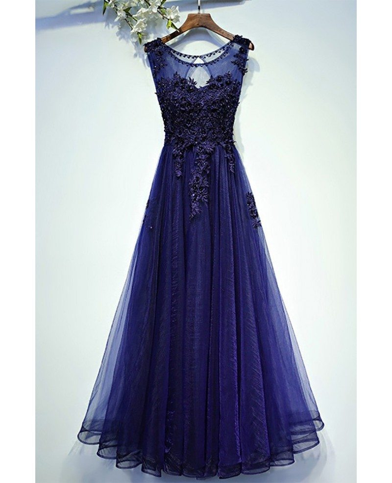 Navy Blue Lace Tulle Long Prom Dress A Line Sleeveless #MYX18019 ...