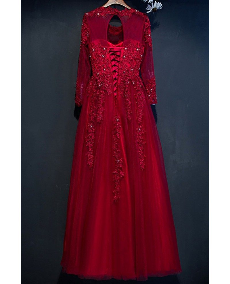 Modest burgundy long sleeve formal party dress with lace for Formal long dresses for weddings