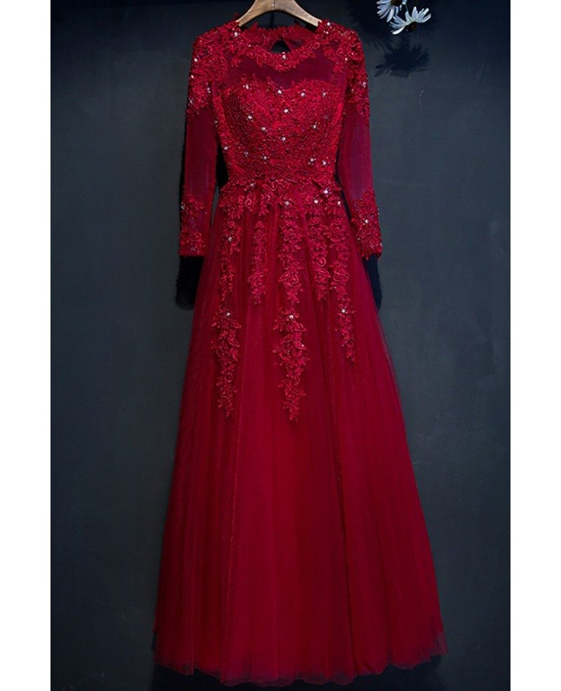 Modest Burgundy Long Sleeve Formal Party Dress With Lace